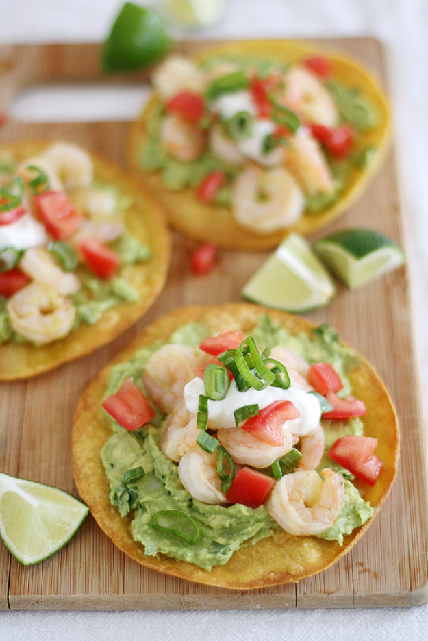 Best Fourth of July Food and Drink Ideas - Shrimp Avocado Tostadas - BBQ on the 4th with these Desserts, Recipes and Ideas for Healthy Appetizers, Party Trays, Easy Meals for a Crowd and Fun Drink Ideas