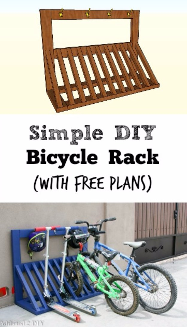 DIY Projects Your Garage Needs -Simple DIY Bicycle Rack - Do It Yourself Garage Makeover Ideas Include Storage, Organization, Shelves, and Project Plans for Cool New Garage Decor #diy #garage #homeimprovement