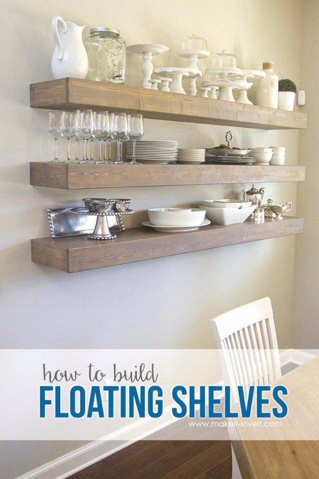 DIY Dining Room Decor Ideas - Simple Floating Shelves In Your Dining Room - Cool DIY Projects for Table, Chairs, Decorations, Wall Art, Bench Plans, Storage, Buffet, Hutch and Lighting Tutorials