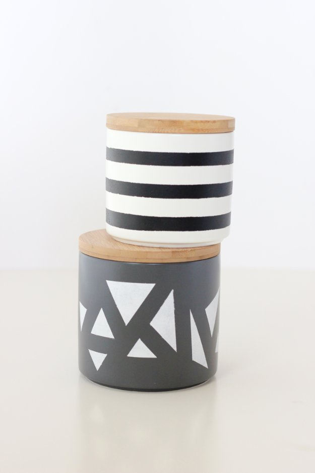 DIY Kitchen Decor Ideas - Simple Geometric Painted Treat Jars - Creative Furniture Projects, Accessories, Countertop Ideas, Wall Art, Storage, Utensils, Towels and Rustic Furnishings #diyideas #kitchenideass
