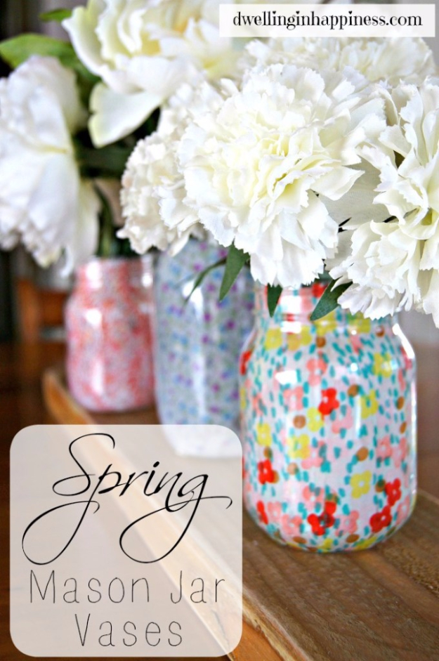 DIY Mason Jar Vases - Spring Mason Jar Vases - Best Vase Projects and Ideas for Mason Jars - Painted, Wedding, Hanging Flowers, Centerpiece, Rustic Burlap, Ribbon and Twine