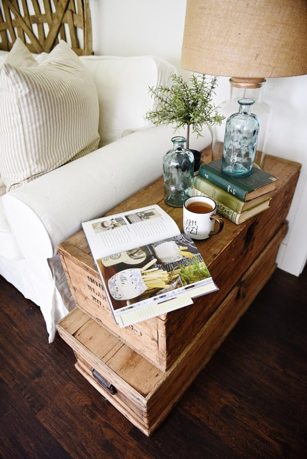 DIY End Tables with Step by Step Tutorials - Stacked Trunk End Table - Cheap and Easy End Table Projects and Plans - Wood, Storage, Pallet, Crate, Modern and Rustic. Bedroom and Living Room Decor Ideas #endtables #diydecor #diy