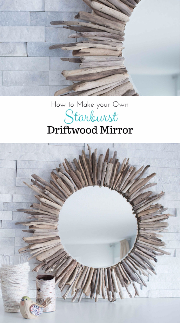 DIY Farmhouse Style Decor Ideas - Starburst Driftwood Mirror - Rustic Ideas for Furniture, Paint Colors, Farm House Decoration for Living Room, Kitchen and Bedroom http://diyjoy.com/diy-farmhouse-decor-ideas