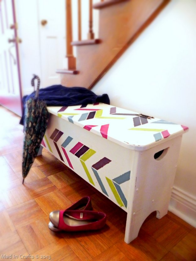 DIY Renters Decor Ideas - Stenciled Herringbone Entryway Bench - Cool DIY Projects for Those Renting Aparments, Condos or Dorm Rooms - Easy Temporary Wall Art, Contact Paper, Washi Tape and Shelves to Make at Home http://diyjoy.com/diy-decor-ideas-for-renters