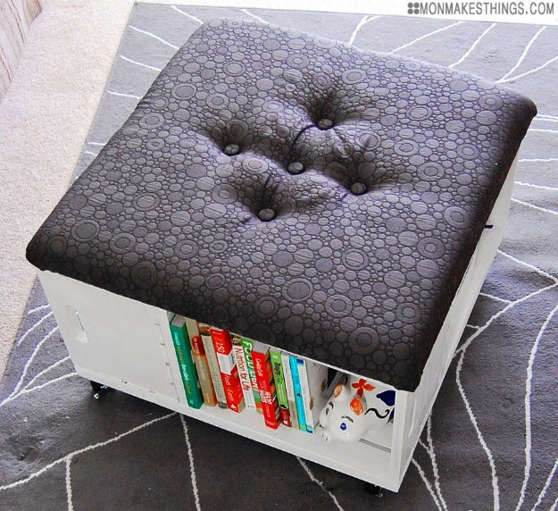 DIY Renters Decor Ideas - Storage Ottoman DIY - Cool DIY Projects for Those Renting Aparments, Condos or Dorm Rooms - Easy Temporary Wall Art, Contact Paper, Washi Tape and Shelves to Make at Home http://diyjoy.com/diy-decor-ideas-for-renters