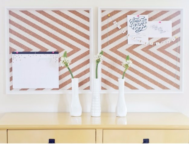 DIY Renters Decor Ideas - Stylish Chevron Corkboard - Cool DIY Projects for Those Renting Aparments, Condos or Dorm Rooms - Easy Temporary Wall Art, Contact Paper, Washi Tape and Shelves to Make at Home  #diyhomedecor #diyideas