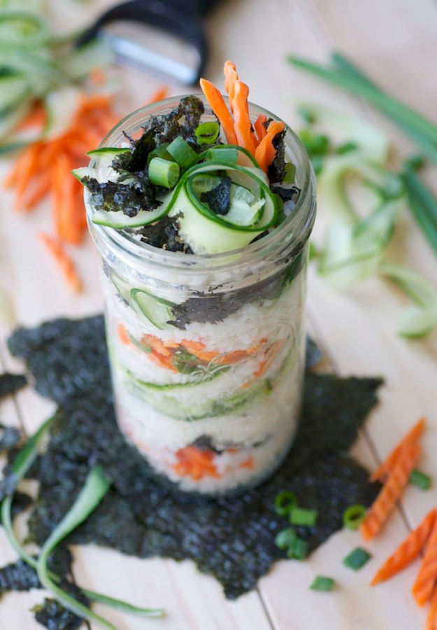 Best Recipes in A Jar - Sushi In A Jar - DIY Mason Jar Gifts, Cookie Recipes and Desserts, Canning Ideas, Overnight Oatmeal, How To Make Mason Jar Salad, Healthy Recipes and Printable Labels