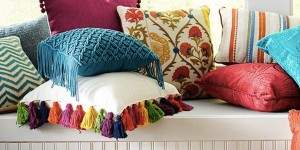 Pier One Inspired Bright Colored Tassel Pillow