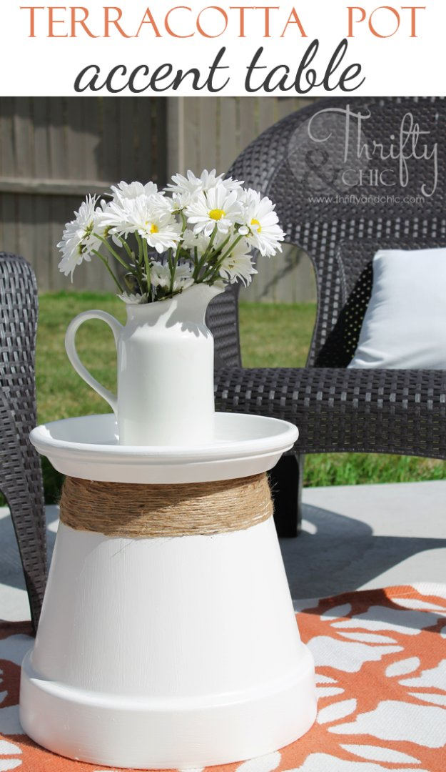 DIY End Tables with Step by Step Tutorials - Terracotta Pot Accent Table - Cheap and Easy End Table Projects and Plans - Wood, Storage, Pallet, Crate, Modern and Rustic. Bedroom and Living Room Decor Ideas #endtables #diydecor #diy