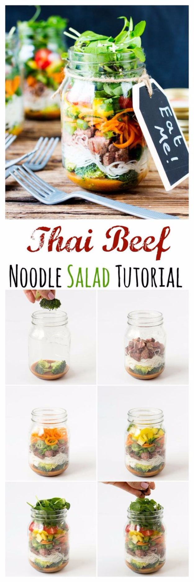 Best Recipes in A Jar - Thai Mason Jar Salad - DIY Mason Jar Gifts, Cookie Recipes and Desserts, Canning Ideas, Overnight Oatmeal, How To Make Mason Jar Salad, Healthy Recipes and Printable Labels