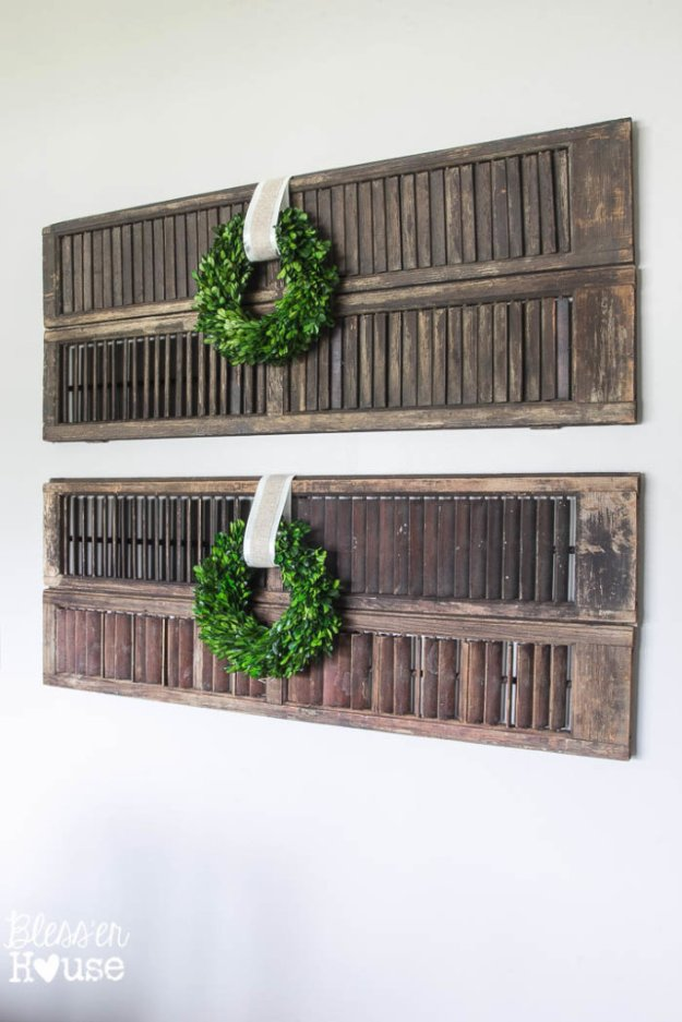 DIY Dining Room Decor Ideas - Thrifty Dining Room Shutter Wall Decor - Cool DIY Projects for Table, Chairs, Decorations, Wall Art, Bench Plans, Storage, Buffet, Hutch and Lighting Tutorials http://diyjoy.com/diy-dining-room-decor-ideas