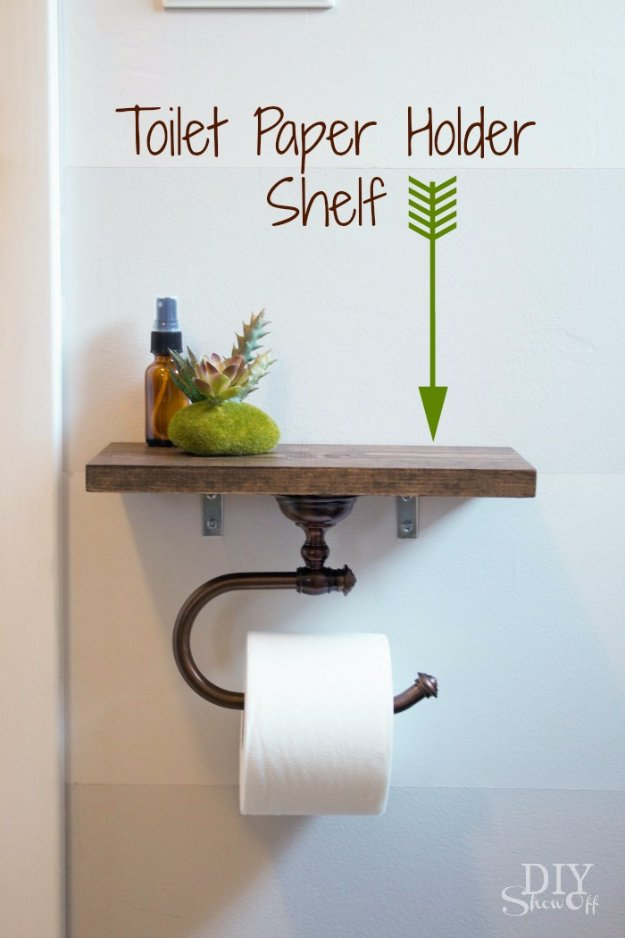 DIY Bathroom Decor Ideas - Toilet Paper Holder With Shelf - Cool Do It Yourself Bath Ideas on A Budget, Rustic Bathroom Fixtures, Creative Wall Art, Rugs mason jar idea bath diy