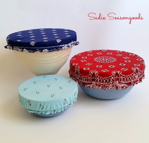 Easy Crafts To Make and Sell - Vintage Bandana Bowl Covers - Cool Homemade Craft Projects You Can Sell On Etsy, at Craft Fairs, Online and in Stores. Quick and Cheap DIY Ideas that Adults and Even Teens #craftstosell #diyideas #crafts