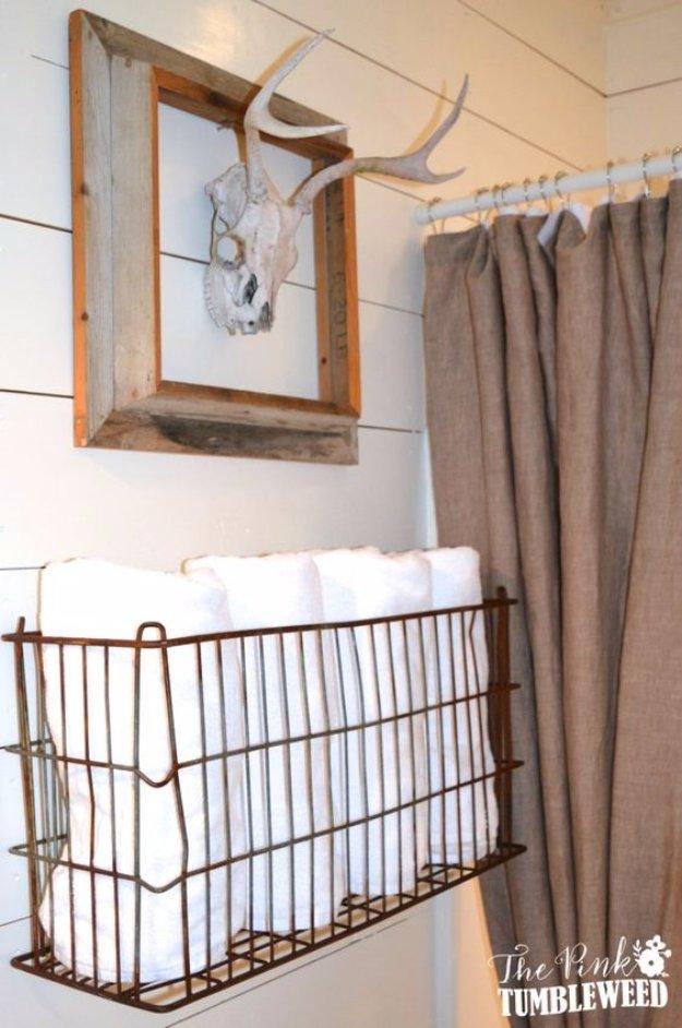 DIY Bathroom Decor Ideas - Vintage Metal Basket Towel Rack - Cool Do It Yourself Bath Ideas on A Budget, Rustic Bathroom Fixtures, Creative Wall Art, Rugs mason jar idea bath diy