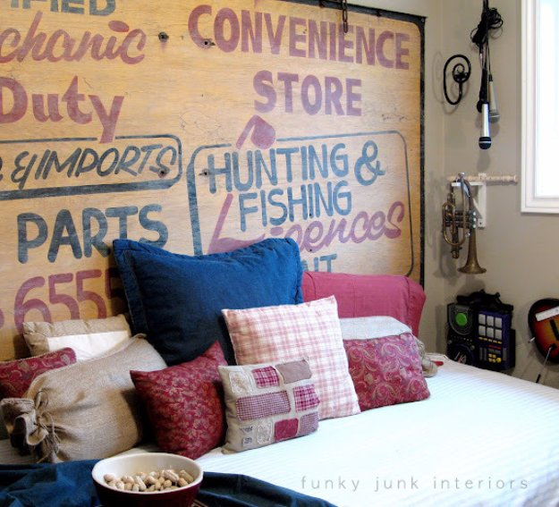 DIY Headboard Ideas - Vintage Sign Headboard - Easy and Cheap Do It Yourself Headboards - Upholstered, Wooden, Fabric Tufted, Rustic Pallet, Projects With Lights, Storage and More Step by Step Tutorials #diy #bedroom #furniture