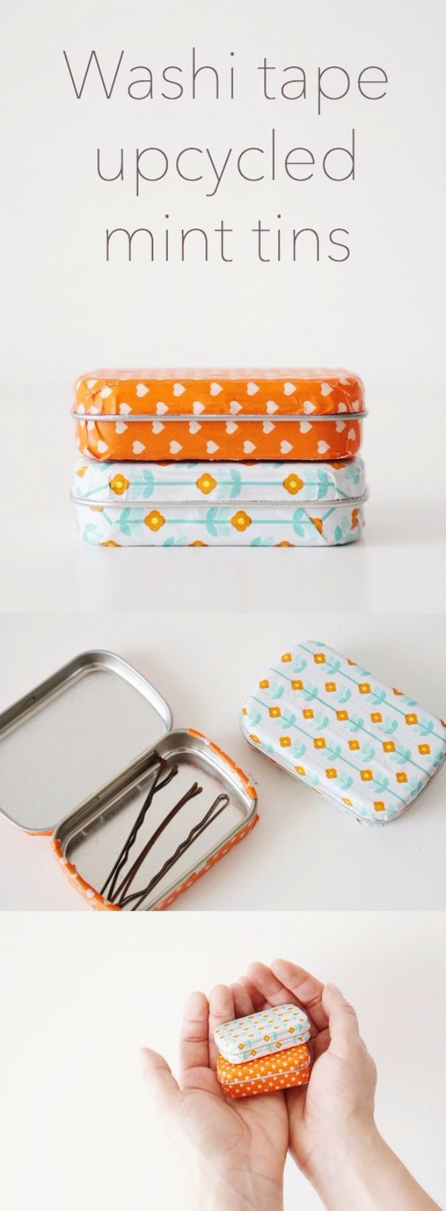 Easy Crafts To Make and Sell - Washi Tape Upcycled Mint Tins - Cool Homemade Craft Projects You Can Sell On Etsy, at Craft Fairs, Online and in Stores. Quick and Cheap DIY Ideas that Adults and Even Teens #craftstosell #diyideas #crafts