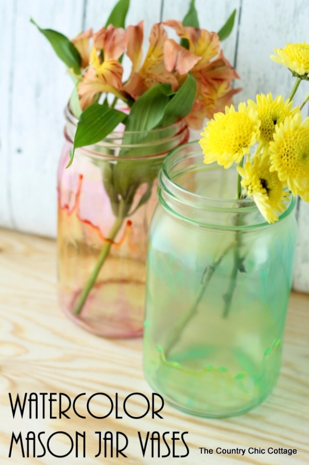 DIY Mason Jar Vases - Watercolor Mason Jar Vases - Best Vase Projects and Ideas for Mason Jars - Painted, Wedding, Hanging Flowers, Centerpiece, Rustic Burlap, Ribbon and Twine http://diyjoy.com/diy-mason-jar-vases
