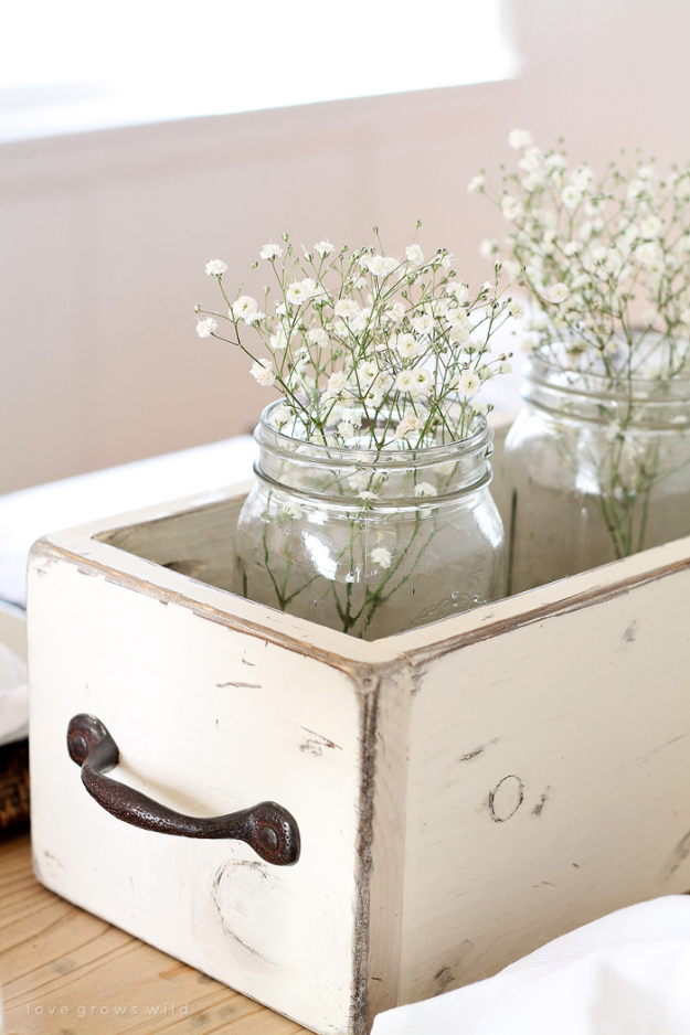 DIY Farmhouse Style Decor Ideas - Weathered White Mason Jar Decor - Rustic Ideas for Furniture, Paint Colors, Farm House Decoration for Living Room, Kitchen and Bedroom #diy