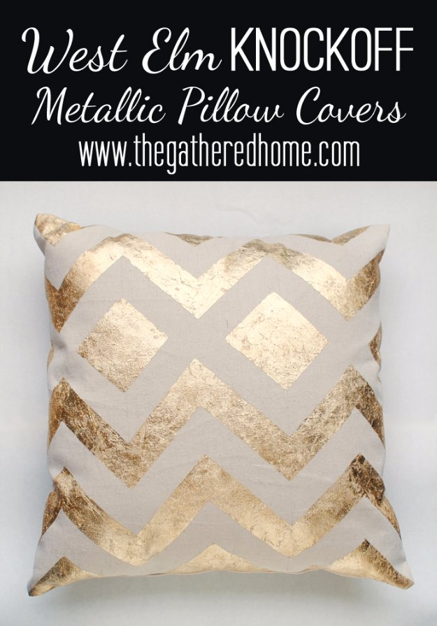 DIY Living Room Decor Ideas - West Elm Inspired Metallic Pillow - Cool Modern, Rustic and Creative Home Decor - Coffee Tables, Wall Art, Rugs, Pillows and Chairs. Step by Step Tutorials and Instructions