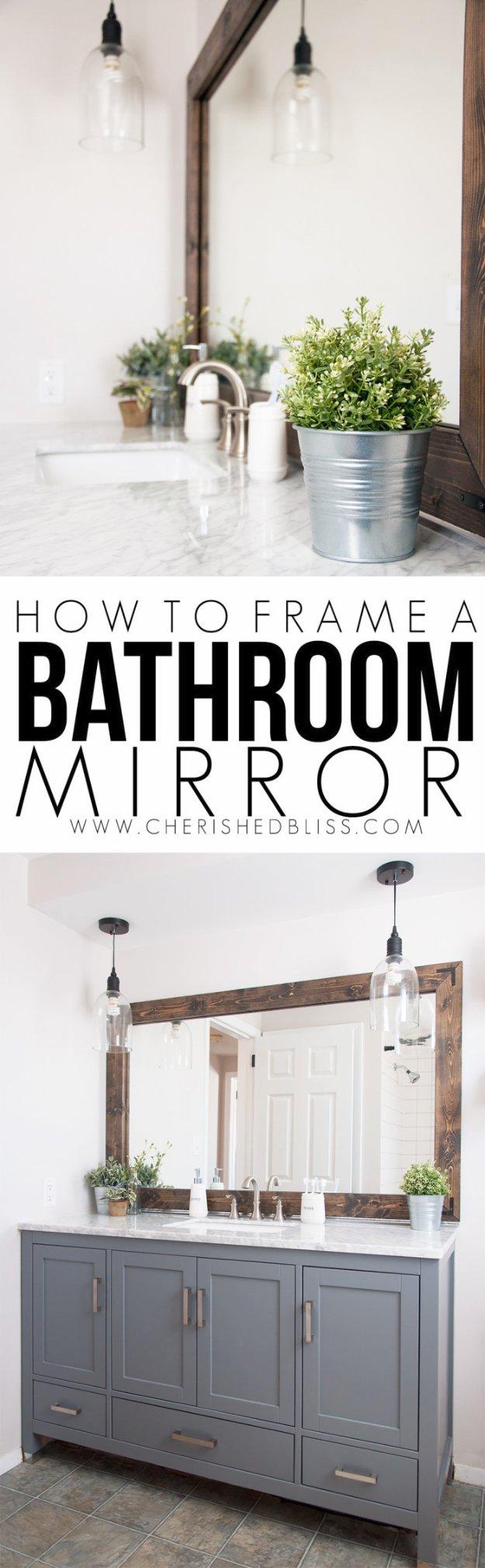 DIY Bathroom Decor Ideas - Wood Framed Bathroom Mirror Tutorial - Cool Do It Yourself Bath Ideas on A Budget, Rustic Bathroom Fixtures, Creative Wall Art, Rugs mason jar idea bath diy