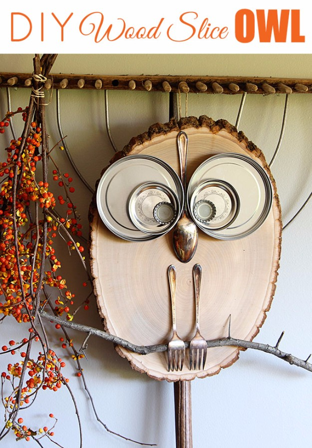 Easy Crafts To Make and Sell - Wood Slice Owl Decor - Cool Homemade Craft Projects You Can Sell On Etsy, at Craft Fairs, Online and in Stores. Quick and Cheap DIY Ideas that Adults and Even Teens #craftstosell #diyideas #crafts