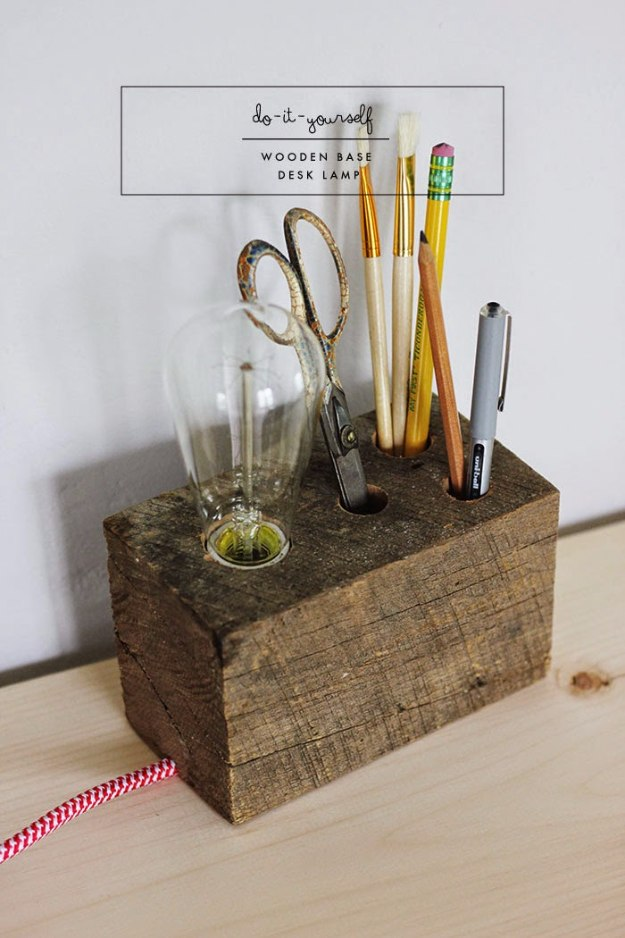 DIY Home Office Decor Ideas - Wooden Base Desk Lamp - Do It Yourself Desks, Tables, Wall Art, Chairs, Rugs, Seating and Desk Accessories for Your Home Office #office #diydecor #diy