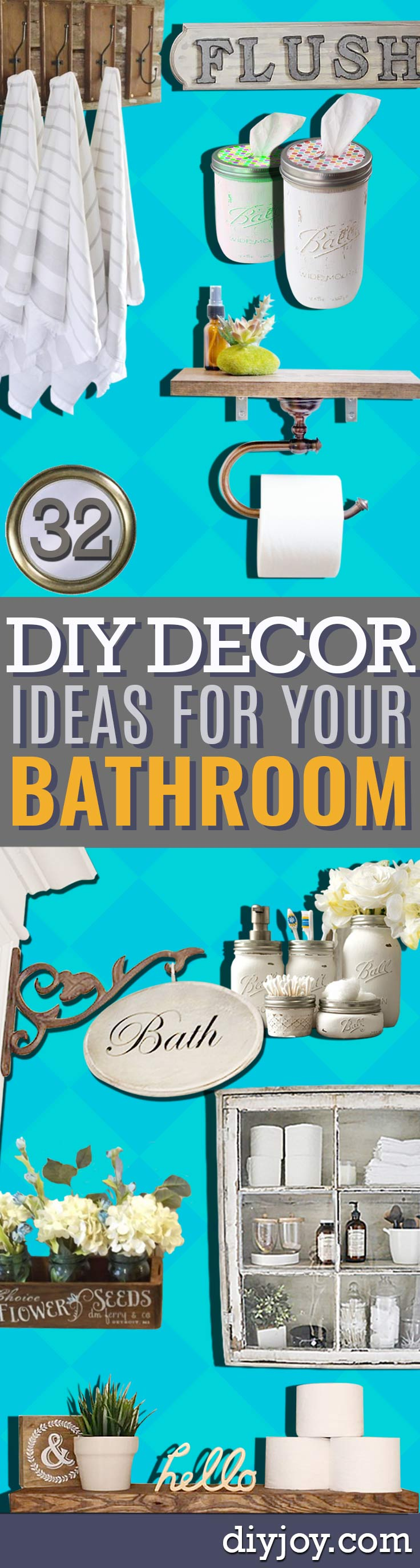 DIY Bathroom Decor Ideas - Cool Do It Yourself Bath Ideas on A Budget, Rustic Bathroom Fixtures, Creative Wall Art, Rugs, Mason Jar Accessories and Easy Projects http://diyjoy.com/diy-bathroom-decor-ideas