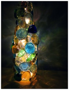 Beautiful Glass Stones Lighted Bottle…Easy & Awesome Nightlight!