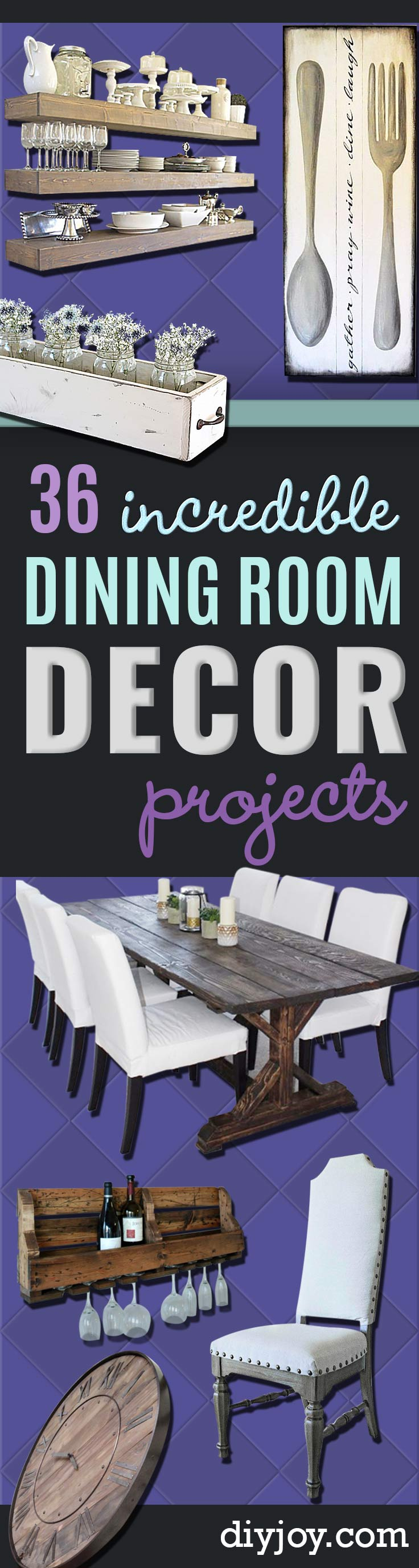 DIY Dining Room Decor Ideas - Cool DIY Projects for Table, Chairs, Decorations, Wall Art, Bench Plans, Storage, Buffet, Hutch and Lighting Tutorials http://diyjoy.com/diy-dining-room-decor-ideas