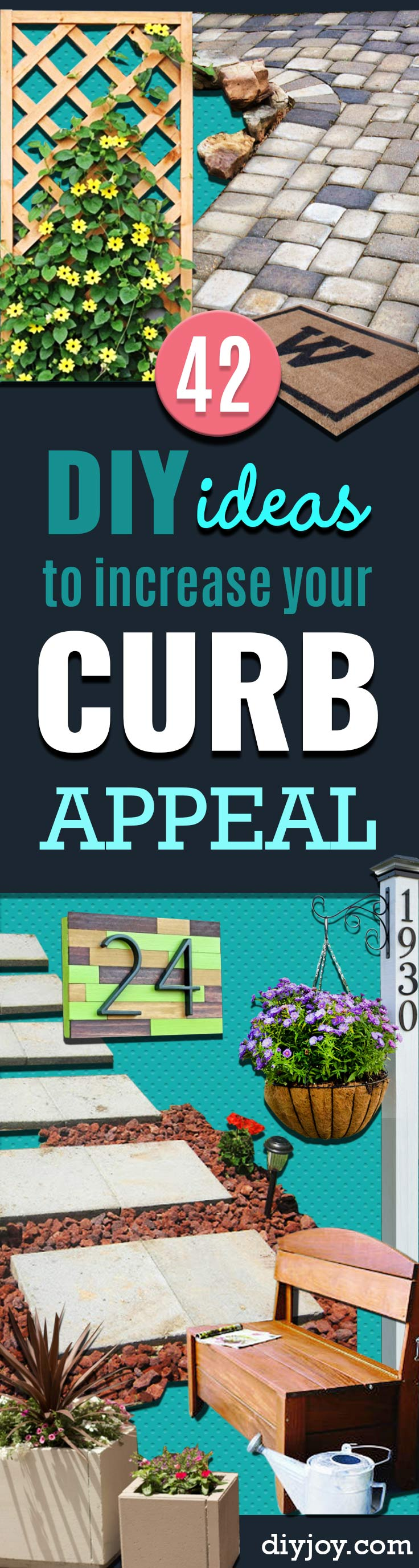diy home improvement ideas for curb appeal - Creative Ways to Increase Curb Appeal on A Budget - Cheap and Easy Ideas for Upgrading Your Front Porch, Landscaping, Driveways, Garage Doors, Brick and Home Exteriors. Add Window Boxes, House Numbers, Mailboxes and Yard Makeovers