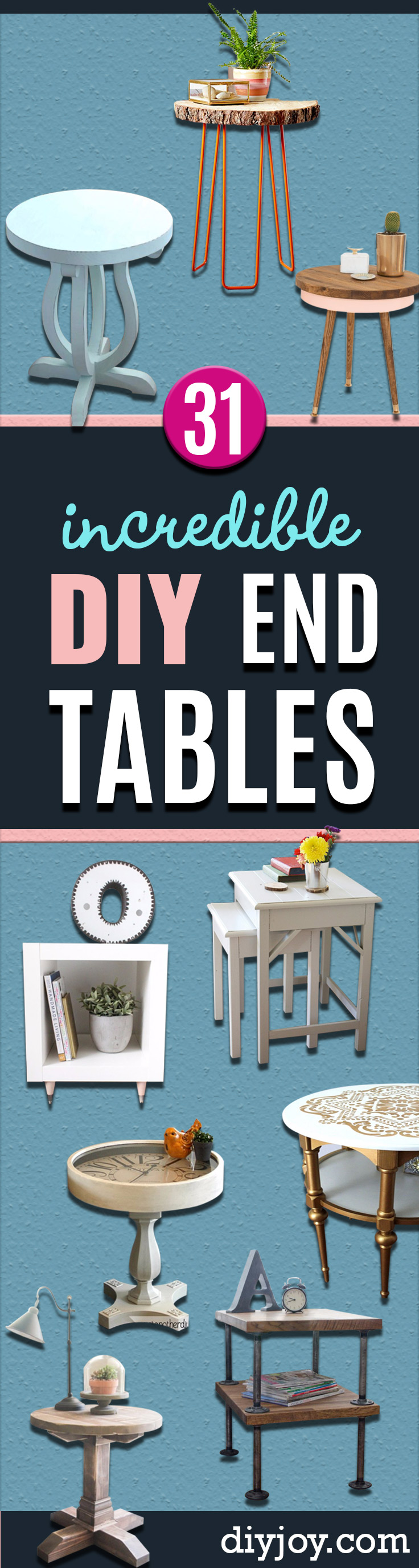 DIY End Tables with Step by Step Tutorials - Cheap and Easy End Table Projects and Plans - Wood, Storage, Pallet, Crate, Modern and Rustic. Bedroom and Living Room Decor Ideas