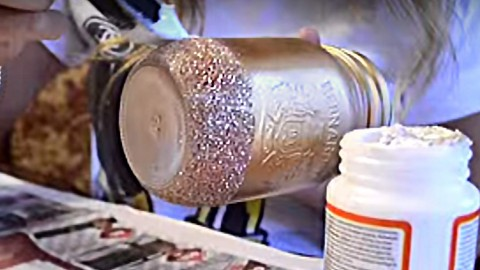 Fabulous Glitter Mason Jar Sheer Elegance