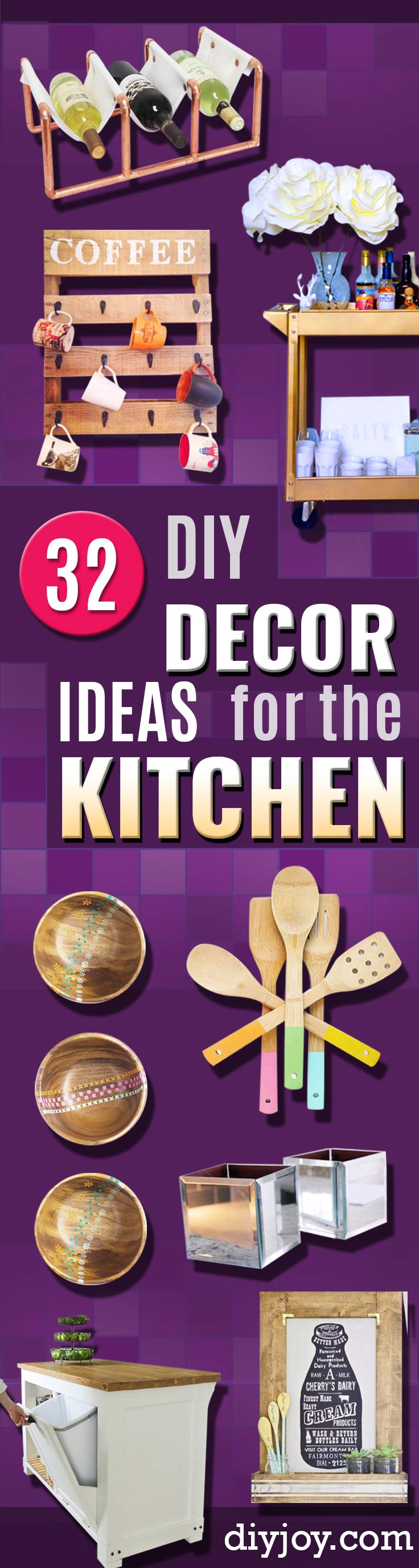 DIY Kitchen Decor Ideas - Creative Furniture Projects, Accessories, Countertop Ideas, Wall Art, Storage, Utensils, Towels and Rustic Furnishings