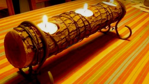 DIY Romantic Log Candle Holder | DIY Joy Projects and Crafts Ideas