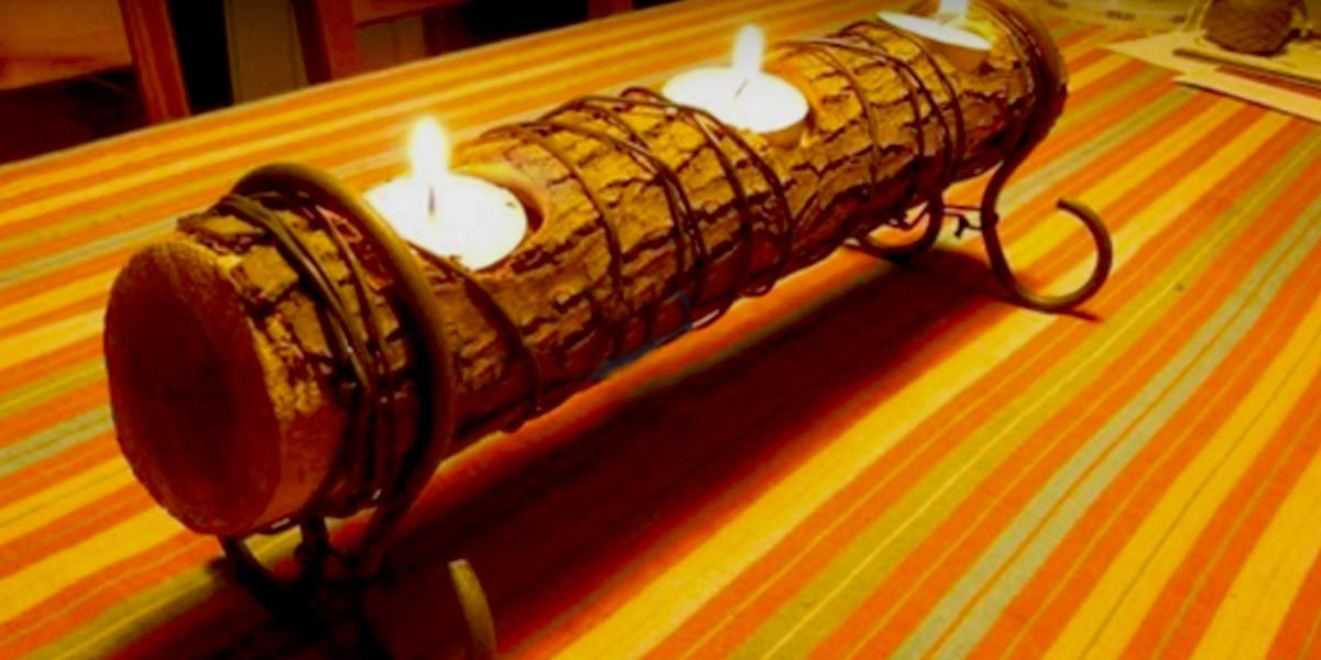 Diy romantic log candle holder for Log candle holder how to make