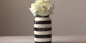 Easy Striped Mason Jar Tutorial is The Bomb!
