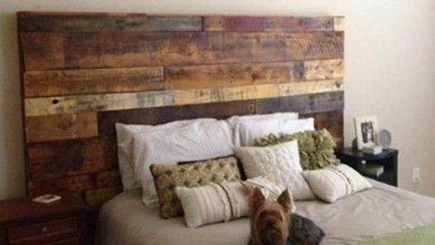 Fabulous Rustic Headboard Made Out of Pallets!  It's So Unique & Easy To Make! | DIY Joy Projects and Crafts Ideas