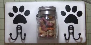 Clever DIY Dog Station Holds Leash and Mason Jar Treats