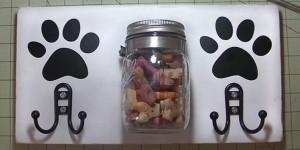 DIY Dog Station Holds Leash and Mason Jar Treats