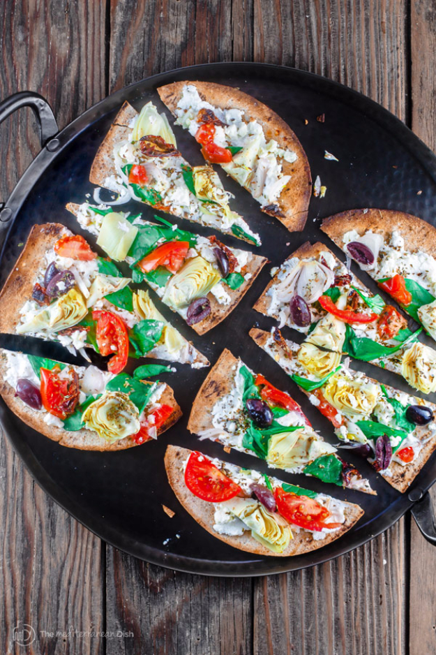 Last Minute Party Foods Recipes - 15 Minute Artichoke Garden Flatbread Pizza - Easy Appetizers, Simple Snacks, Ideas for 4th of July Parties, Cookouts and BBQ With Friends. Quick and Cheap Food Ideas for a Crowd#appetizers #recipes #party