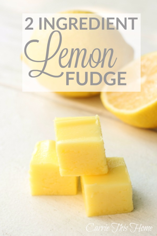 Last Minute Dessert Recipes and Ideas - 2 Ingredient Lemon Fudge - Healthy and Easy Ideas for No Bake Recipe Foods, Chocolate, Peanut Butter. Best Simple Ideas for Summer, For A Crowd and for Parties