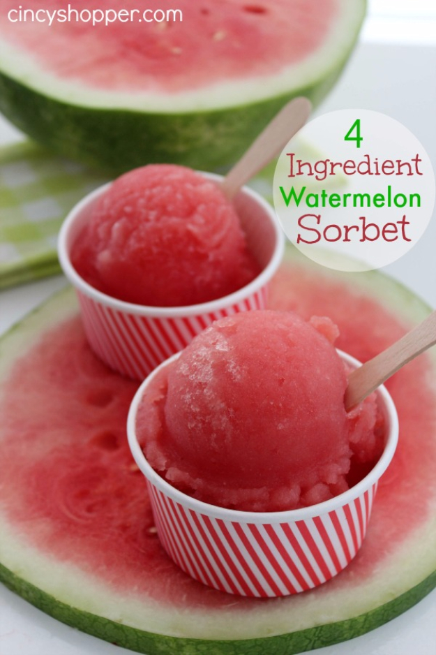 Last Minute Dessert Recipes and Ideas - 4 Ingredient Watermelon Sorbet - Healthy and Easy Ideas for No Bake Recipe Foods, Chocolate, Peanut Butter. Best Simple Ideas for Summer, For A Crowd and for Parties