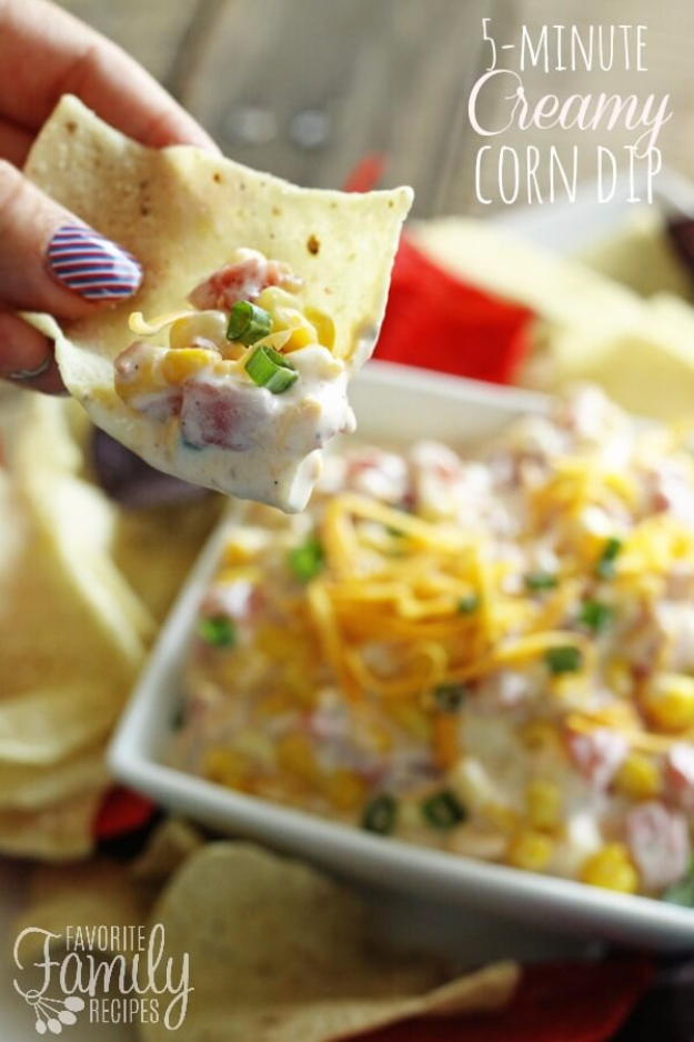 Last Minute Party Foods - 5 Minute Creamy Corn Dip - Easy Appetizers, Simple Snacks, Ideas for 4th of July Parties, Cookouts and BBQ With Friends. Quick and Cheap Food Ideas for a Crowd#appetizers #recipes #party