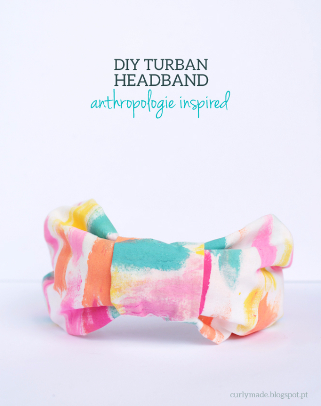 DIY Projects for Teenagers - Anthropologie Inspired DIY Turban Headband - Cool Teen Crafts Ideas for Bedroom Decor, Gifts, Clothes and Fun Room Organization. Summer and Awesome School Stuff