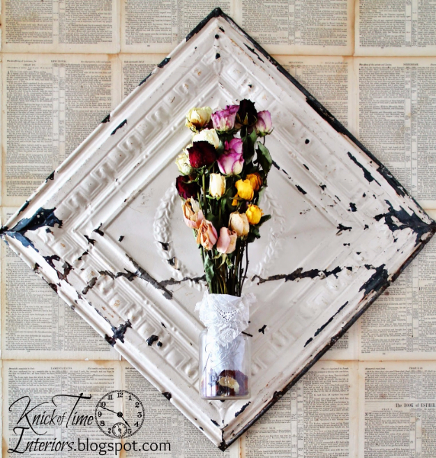 DIY Farmhouse Style Decor Ideas - Antique Ceiling Tile Dried Flower Display - Creative Rustic Ideas for Cool Furniture, Paint Colors, Farm House Decoration for Living Room, Kitchen and Bedroom #diy #diydecor #farmhouse #countrycrafts