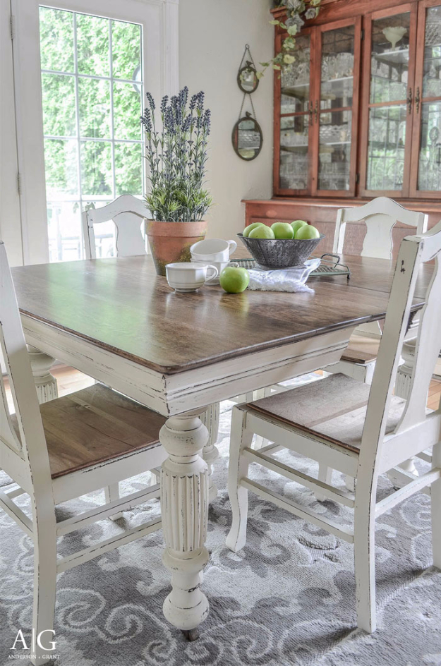 Amazing DIY Dining Room Table Projects   Antique Dining Table Updated With Chalk  Paint   Creative Do