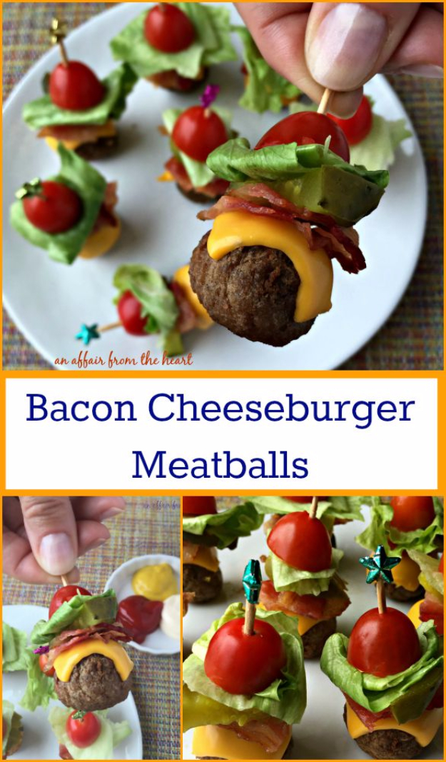 Last Minute Party Foods - Bacon Cheeseburger Meatballs - Easy Appetizers, Simple Snacks, Ideas for 4th of July Parties, Cookouts and BBQ With Friends. Quick and Cheap Food Ideas for a Crowd#appetizers #recipes #party