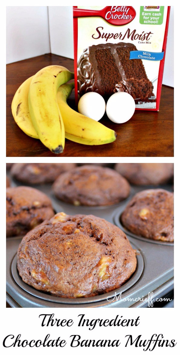Last Minute Dessert Recipes and Ideas - Banana Chocolate Muffin - Healthy and Easy Ideas for No Bake Recipe Foods, Chocolate, Peanut Butter. Best Simple Ideas for Summer, For A Crowd and for Parties