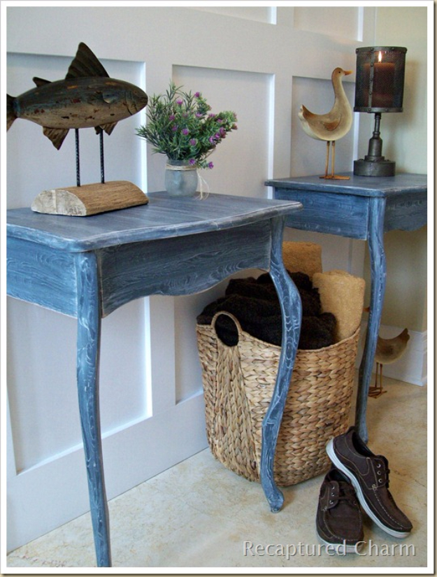 DIY Ideas for Your Entry - Beachy Entry Tables - Cool and Creative Home Decor or Entryway and Hall. Modern, Rustic and Classic Decor on a Budget. Impress House Guests and Fall in Love With These DIY Furniture and Wall Art Ideas http://diyjoy.com/diy-home-decor-entry