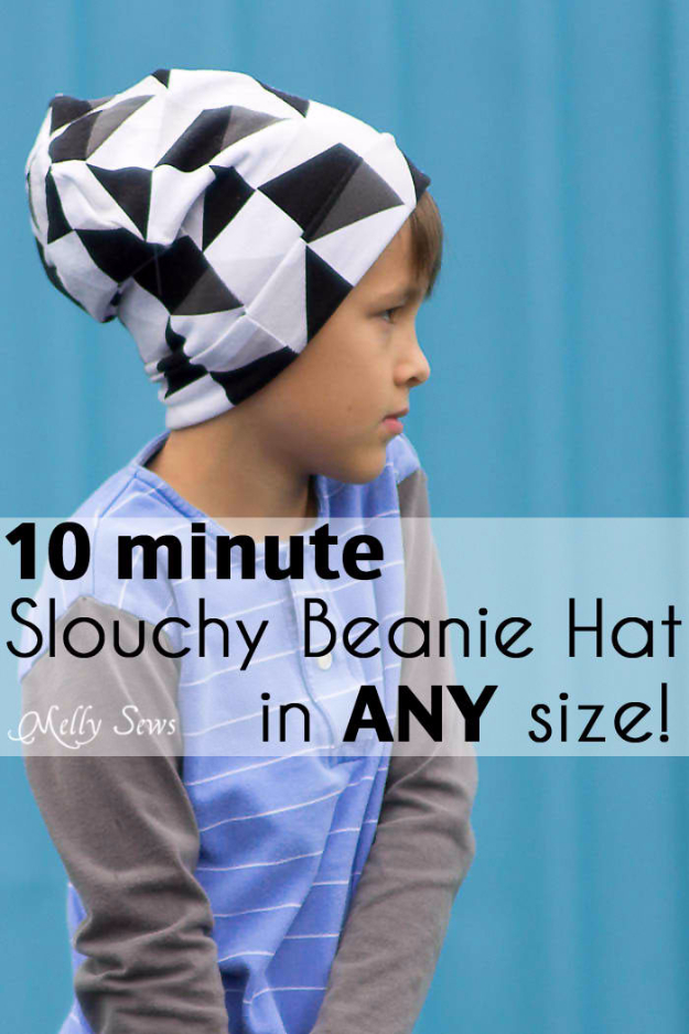 Sewing Crafts To Make and Sell - Beanie Hat Tutorial - Easy DIY Sewing Ideas To Make and Sell for Your Craft Business. Make Money with these Simple Gift Ideas, Free Patterns, Products from Fabric Scraps, Cute Kids Tutorials #sewing #crafts